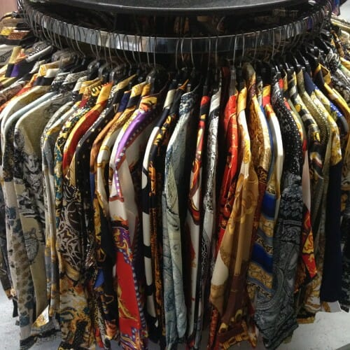 New rack of Faux-Versace Shirts at METROPOLIS VINTAGE
